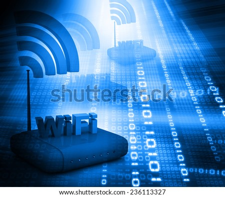 Wifi internet router switch modem on abstract blue binary background  - stock photo