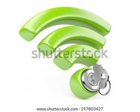 WiFi internet  security concept. 3d symbol wifi and the key isolated on a white - stock photo