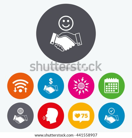 Wifi, like counter and calendar icons. Handshake icons. World, Smile happy face and house building symbol. Dollar cash money. Amicable agreement. Human talk, go to web. - stock photo