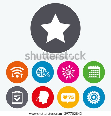 Wifi, like counter and calendar icons. Star favorite and globe with mouse cursor icons. Checklist and cogwheel gear sign symbols. Human talk, go to web. - stock photo