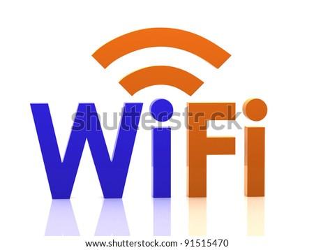 WiFi logo. 3D concept - stock photo