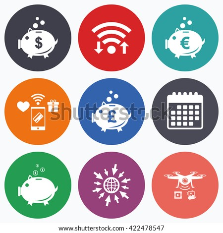Wifi, mobile payments and drones icons. Piggy bank icons. Dollar, Euro and Pound moneybox signs. Cash coin money symbols. Calendar symbol. - stock photo