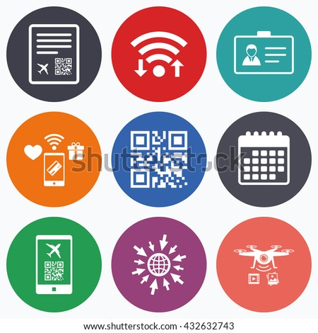 Wifi, mobile payments and drones icons. QR scan code in smartphone icon. Boarding pass flight sign. Identity ID card badge symbol. Calendar symbol. - stock photo
