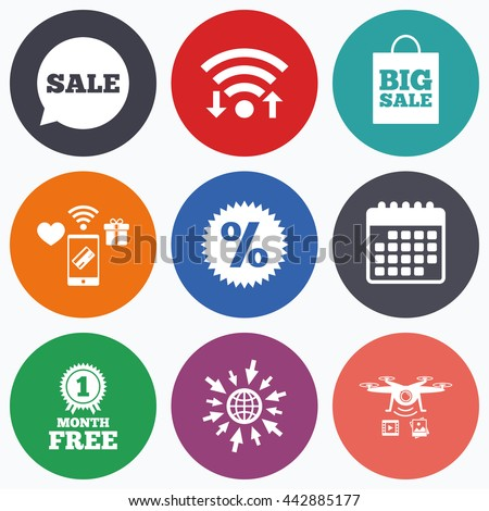 Wifi, mobile payments and drones icons. Sale speech bubble icon. Discount star symbol. Big sale shopping bag sign. First month free medal. Calendar symbol. - stock photo