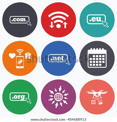 Wifi, mobile payments and drones icons. Top-level internet domain icons. Com, Eu, Net and Org symbols with cursor pointer. Unique DNS names. Calendar symbol. - stock photo