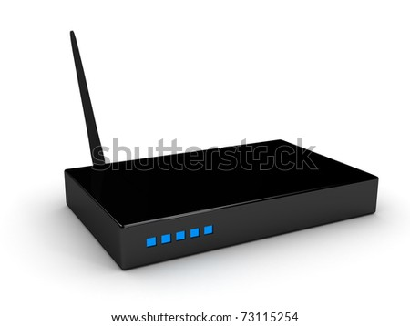 WiFi router over white background. computer generated image - stock photo