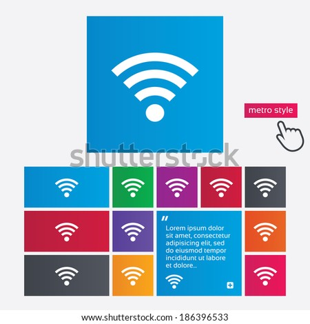 Wifi sign. Wi-fi symbol. Wireless Network icon. Wifi zone. Metro style buttons. Modern interface website buttons with hand cursor pointer. - stock photo