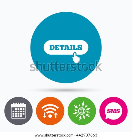 Wifi, Sms and calendar icons. Details with hand pointer sign icon. More symbol. Website navigation. Go to web globe. - stock photo