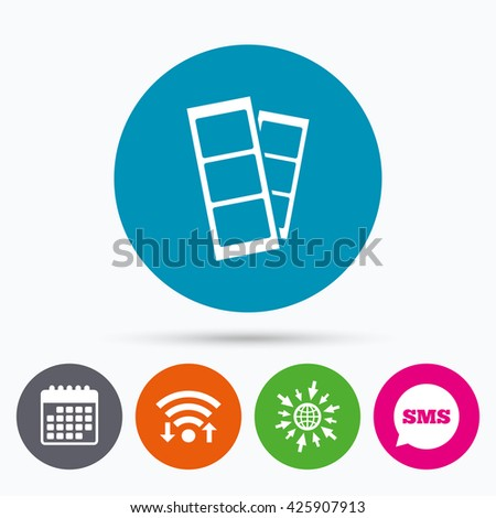 Wifi, Sms and calendar icons. Photo booth strips sign icon. Photo frame template symbol. Go to web globe. - stock photo