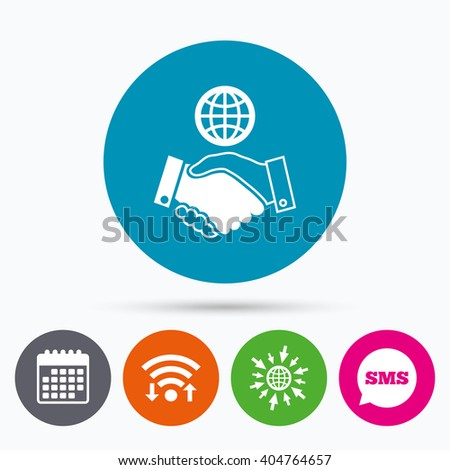 Wifi, Sms and calendar icons. World handshake sign icon. Amicable agreement. Successful business with globe symbol. Go to web globe. - stock photo