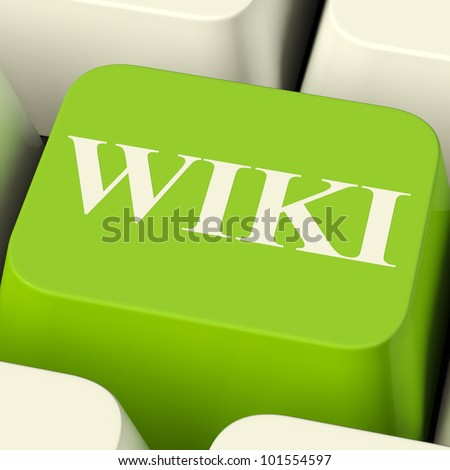 Wiki Computer Key For Online Information Or Encyclopedias - stock photo