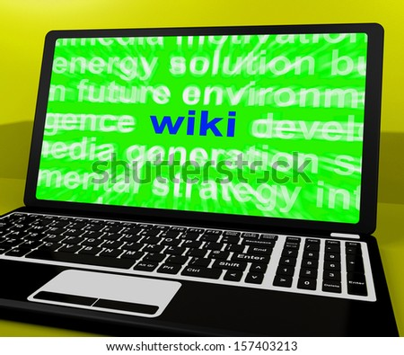 Wiki Laptop Showing Online Websites Knowledge Or Encyclopedia On Internet - stock photo