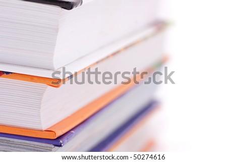 Wikipedia books on white background - stock photo