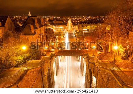 Wilbur Wright Tunnel between Gallo-Roman walls of Le Mans, France - stock photo