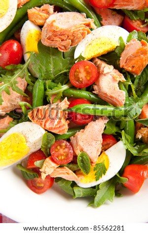 Wild Alaskan Salmon, Boiled Eggs, Green Beans and Tomatoes Salad - stock photo