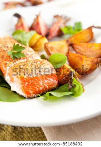 Wild Alaskan Sockeye Salmon Baked with Various Root Vegetables - stock photo