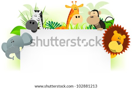Wild Animals Letterhead Background/ Illustration of cute cartoon wild animals from african savannah, including lion,  elephant,giraffe, monkey and zebra with jungle background. For use as letterhead - stock photo