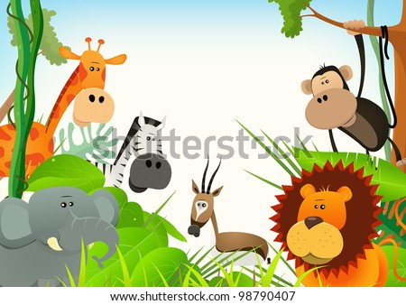 Wild Animals Postcard Background/ Illustration of cute various cartoon wild animals from african savannah, including  lion, elephant,giraffe, gazelle, monkey and zebra with jungle background - stock photo
