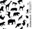 Wild animals seamless pattern background. Raster version. - stock photo