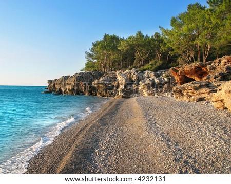 Wild beach Near Antalya - stock photo