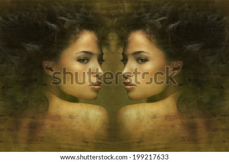 wild beautiful black hair woman artistic portrait - stock photo