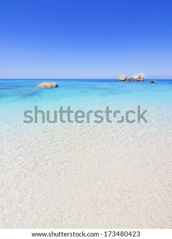 wild beautiful natural archipelago beach with rocks in water. Island Lefkada, Leucas or Leucadia, Levkas, Lefkas, ionian sea, Greece - stock photo