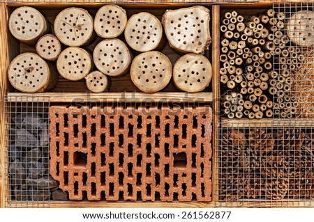 Wild Bee Hotel - Insect Hotel - Detail - stock photo