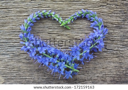 Wild blue flowers in the form of heart on a wooden background - stock photo