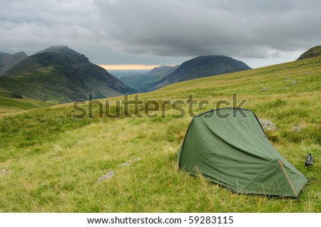 Wild camping in the English Lake District. Pillar and Ennerdale in the background - stock photo