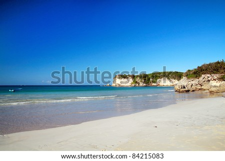 Wild caribbean beach,  Dominican Republic - stock photo