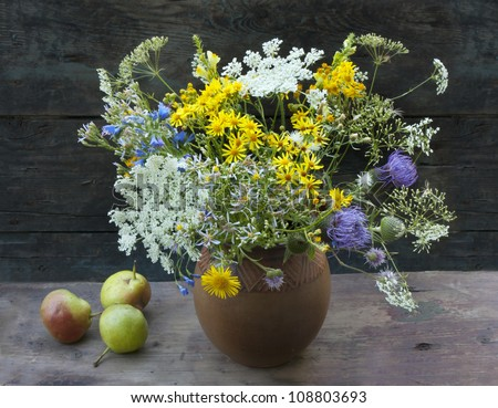 wild flowers and pears still life - stock photo