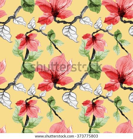 Wild flowers seamless pattern on yellow background - stock photo