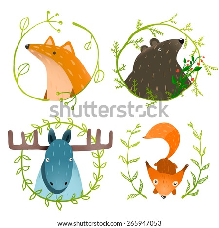 Wild Forest Animals Set. Forest animals portraits set with laurels on white background. Raster variant. - stock photo