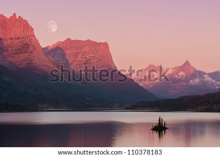 Wild Goose Island on Saint Mary Lake in Glacier National Park, Montana - stock photo