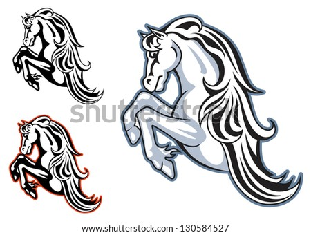 Wild horse stallion for mascot or tattoo design. Vector version also available in gallery - stock photo