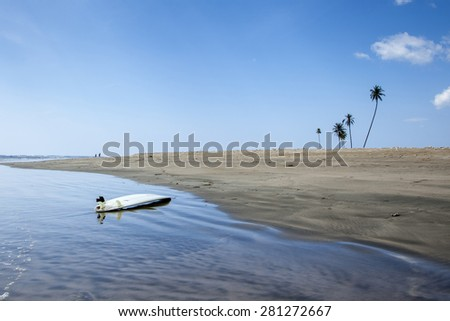 Wild jungle and river in Aceh, Indonesia - stock photo