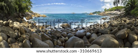 Wild lagoon at  the Seychelles panorama - stock photo