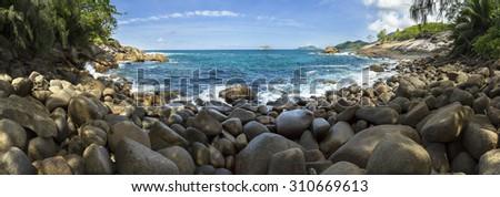 Wild lagoon at  the Seychelles panorama - stock photo