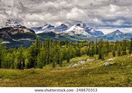 Wild landscape mountain range view, Banff national park, Alberta, Canada - stock photo