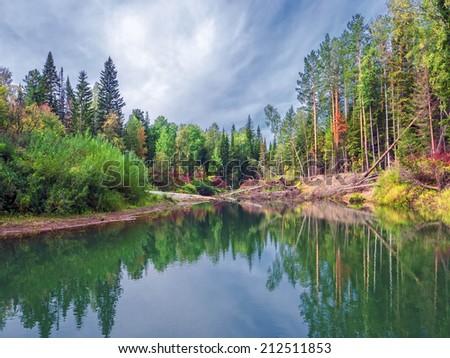 Wild nature of Siberia.  Tongul river in the Tomsk region.  - stock photo