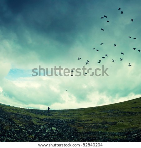 wild nature with storm clouds - stock photo