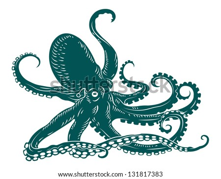Wild ocean octopus with tentacles for sealife design. Vector version also available in gallery - stock photo