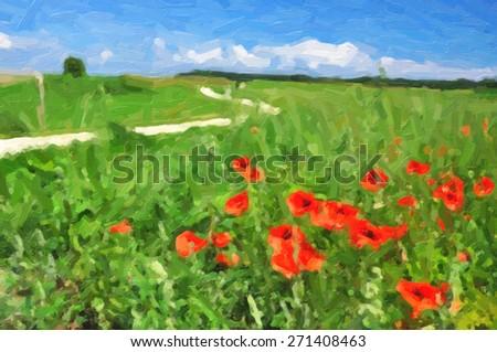 Wild poppies - stock photo