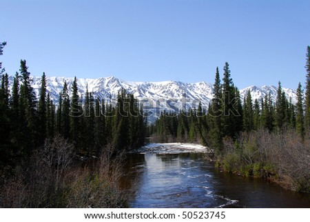 Wild river in Alaska with rapids and mountains - stock photo