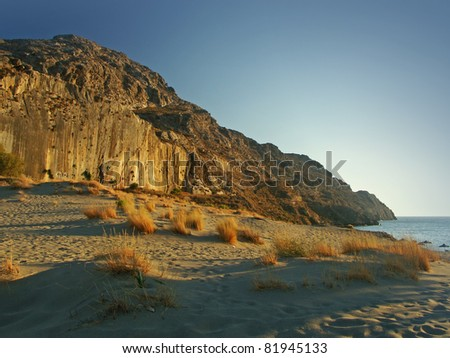 wild south coastline on crete island, greece - stock photo