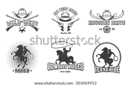 Wild West and Rodeo labels. Cowboy texas, stamp and hat, american retro design - stock photo