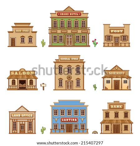 Wild West building set for game level - stock photo