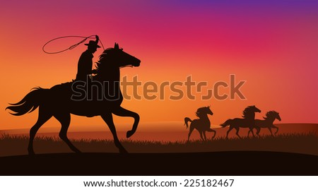 wild west landscape - cowboy chasing the herd of wild mustang horses at sunset - stock photo