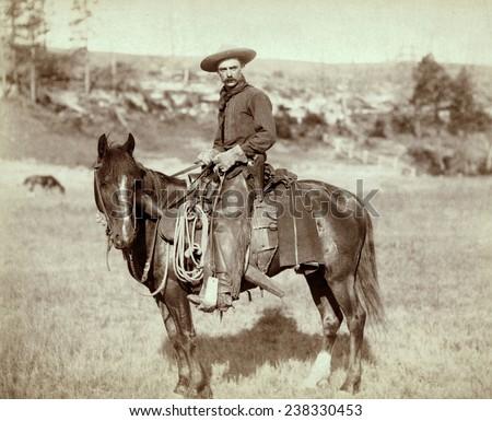 Wild West. The Cow Boy. Sturgis, Dakota Territory. photo by John C. Grabill, 1888 - stock photo