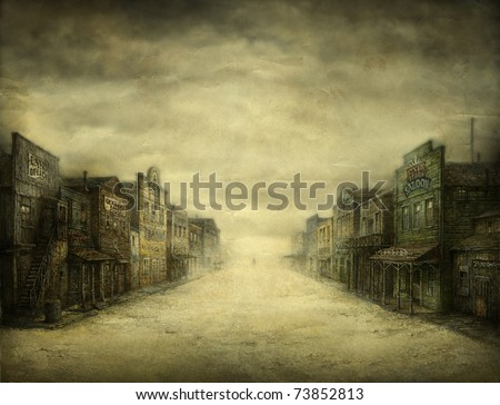 Wild West Town. Acrylic on paper. - stock photo